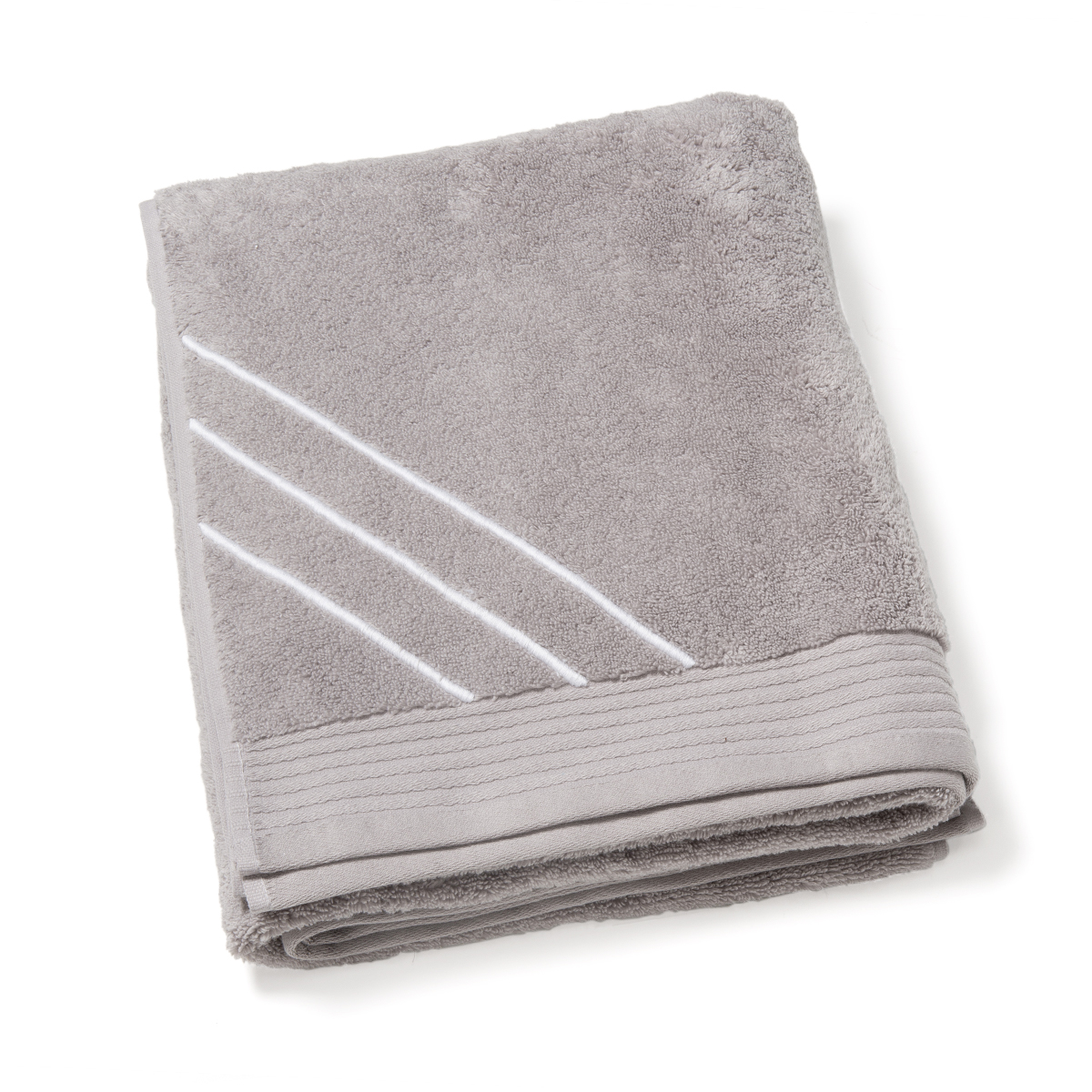 drap de bain brod main taupe gris clair. Black Bedroom Furniture Sets. Home Design Ideas